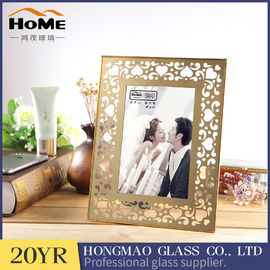 Double Glass Picture Frame , Metal Brass And Glass Photo Frame For Promotion Gift